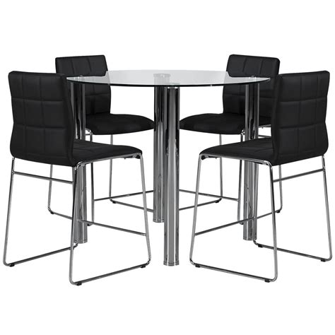 High Dining Table And Stools Napoli Black High Table 4 Stools