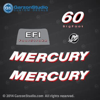 2006 2012 mercury 60 hp big foot efi fourstroke decal set