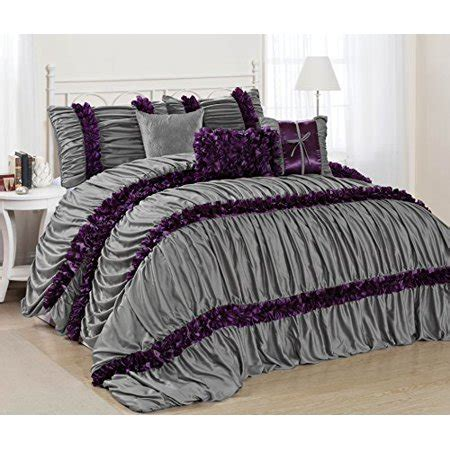 wrinkle free grey and white comforter set 7 caralina gray with purple stripe ruffled pleated
