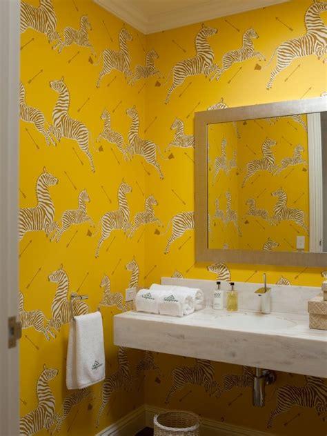 yellow wall bathroom zanzibar gold wallpaper contemporary bathroom diane