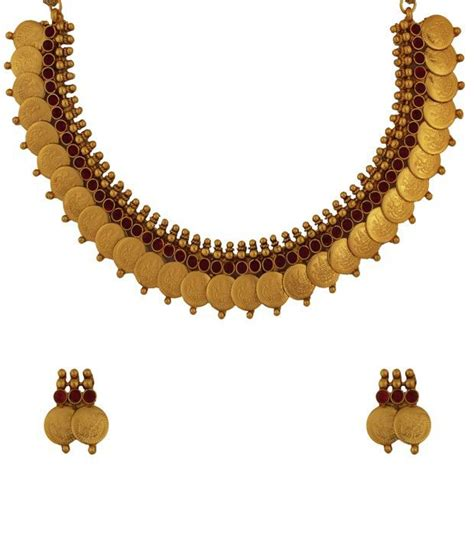 buy crystal jewelry sets onlinelaxmi coin setsearrings golden collections antique lakshmi coin necklace set buy