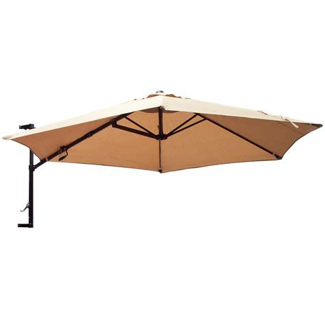 Wall Mounted Patio Umbrella 10 Umbrella Wall Mount Offset Patio Garden Outdoor Sun Canopy Crank Ebay