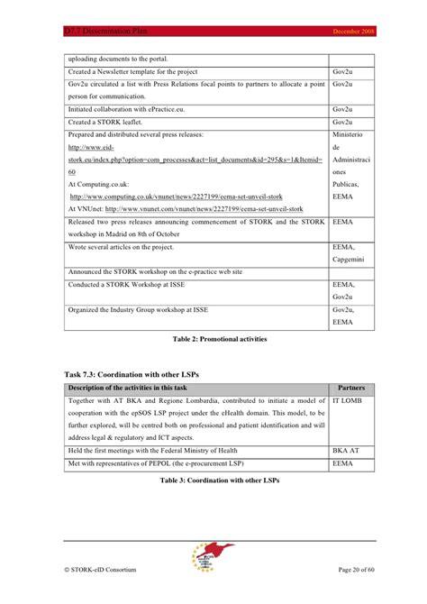 dissemination plan template stork deliverable d7 7 stork dissemination plan