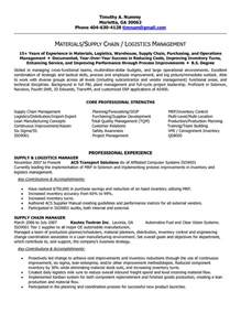 sle resume for supply chain management supply chain manager resume sle resume in logistics and