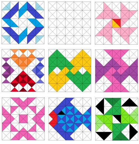 pattern block triangle grid fish and pinwheel quilt blocks sler quilts