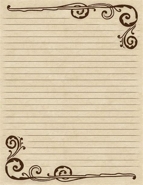 fashioned writing paper template lined paper with a inspired brown swirl