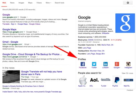 Social Profile Search Knowledge Graph Now Showing Social Profiles For Brands