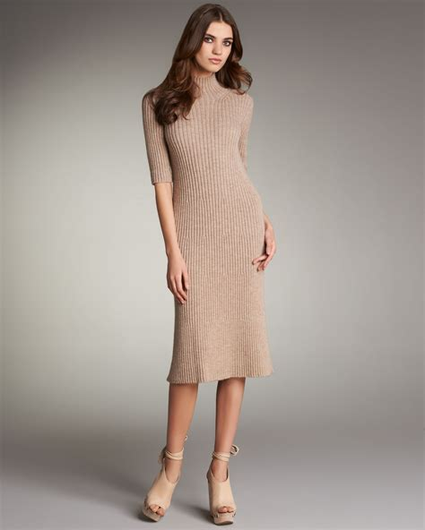 fashionn enthusiast sweater shop here fashion chlo 233 ribbed sweater dress in beige camel lyst