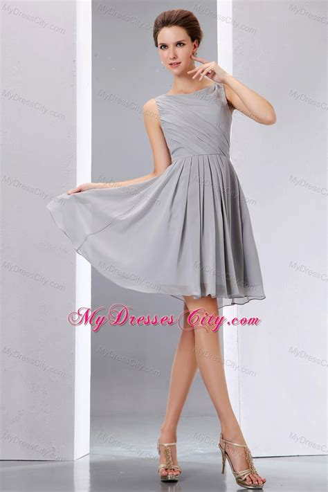 Dress Grey beautiful grey ruched chiffon scoop a line junior