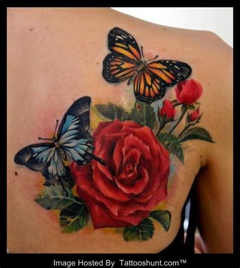3d rose tattoo beautiful colored butterflies and 3d on