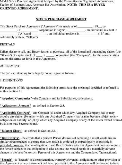 stock purchase agreement template stock purchase agreement free premium