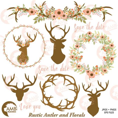Hochzeitseinladung Hirschgeweih by Rustic Wedding Clipart Floral Antlers Antler And Floral