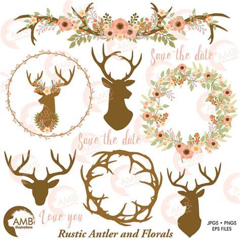 hochzeitseinladung hirschgeweih rustic wedding clipart floral antlers antler and floral