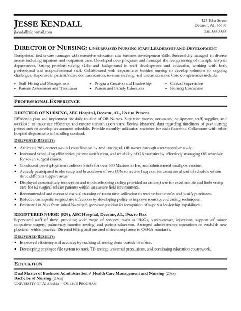 Resume Templates For Nursing Management Exle Director Of Nursing Resume Free Sle