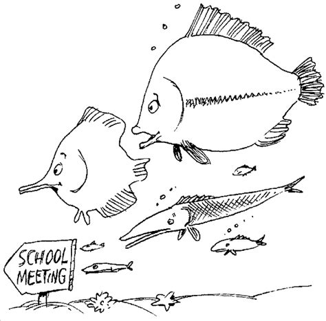 free school of fish coloring pages