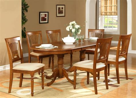 Dining Room Table And Chair Set 7pc Oval Dining Room Set Table 42 Quot X78 Quot With Leaf And 6 Chairs In Saddle Brown Ebay