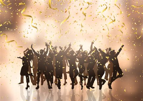 party crowd  confetti  streamers background   vectors clipart graphics