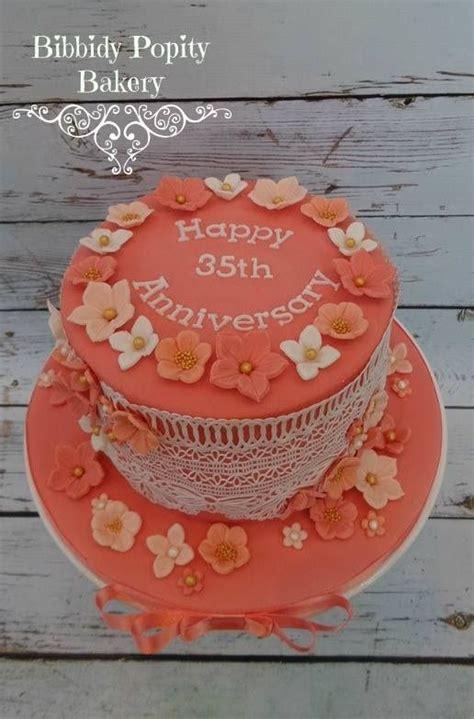 coral 35th wedding anniversary cake anniversary