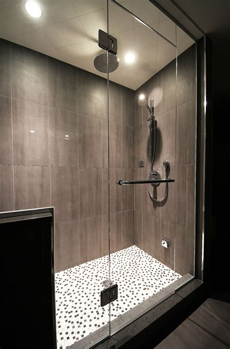 do yourself basement shower idea using pebbles for unique decorating bathroom ideas midcityeast