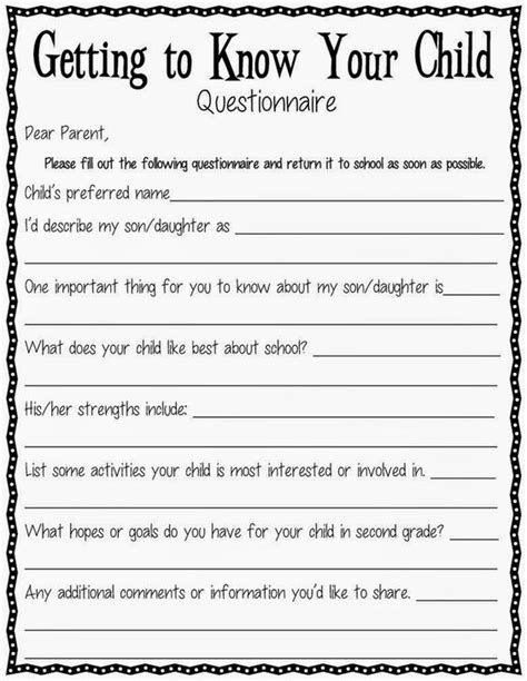 a getting to know your child questionnaire parents