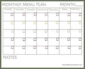 Monthly Food Menu Template by Free Printables From Premeditated Leftovers