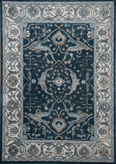 Navy Blue Ivory 5x7 Traditional Area Rug Bordered Carpet Navy Blue Area Rug 5x7
