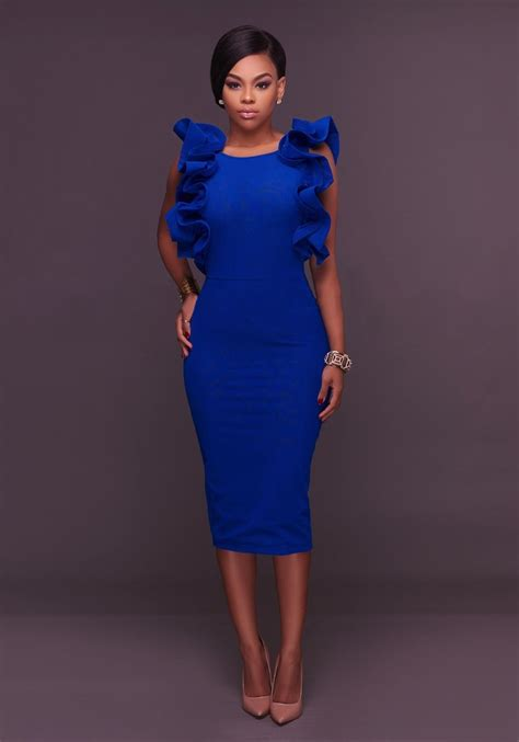 Xaira Dress C Blue royal blue ruffle slit backless bodycon neck pencil midi dress midi