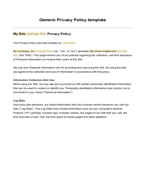 privacy policy template free download privacy policy template