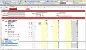contractor spreadsheet template general construction estimate spreadsheet