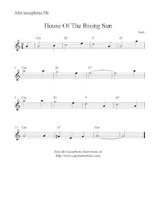 House Of The Rising Sun, free alto saxophone sheet music notes