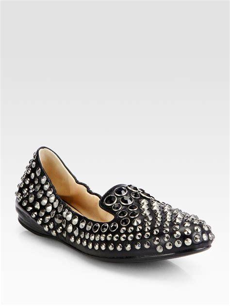 studded slippers prada studded leather slippers in black nero