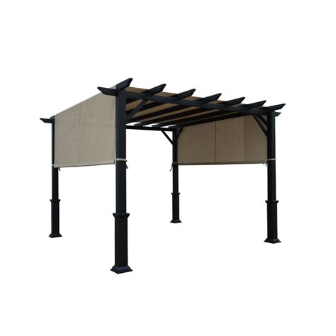 shop garden treasures matte black steel freestanding pergola with canopy common 7 6 ft x 10 ft