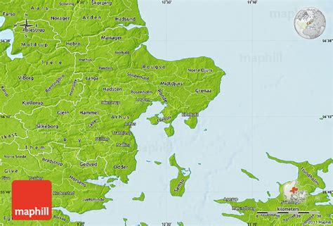 physical map of denmark physical map of arhus