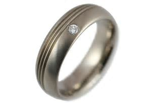 Engagement Rings   Mens Machined Titanium Engagement Ring