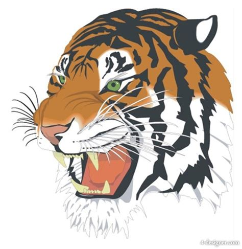 4 designer tiger vector