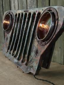 Jeep Grill Upcycled Vintage Jeep Grill Lighted Wall Decor Caves