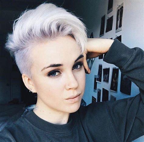 undercut hairstyle for round face girl platinum undercut hair cute pinterest undercut