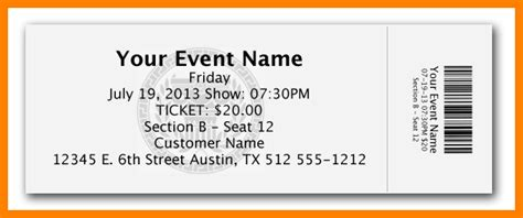 10 Free Ticket Template Card Authorization 2017 Free Printable Event Ticket Template
