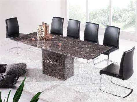 Extending Marble Dining Table Brown Grey Extending Dining Table 6 Chairs Marble Kk Furniture Supplier
