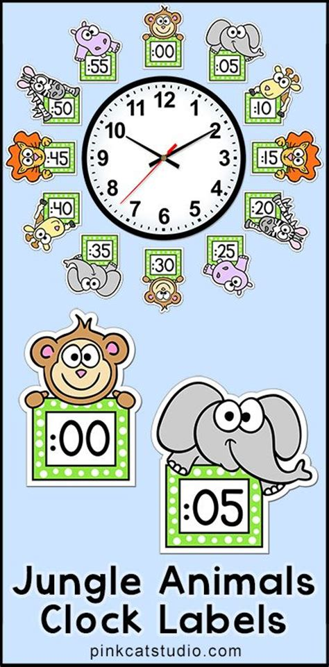 themes clock time classroom clock animal themes and jungle animals on pinterest