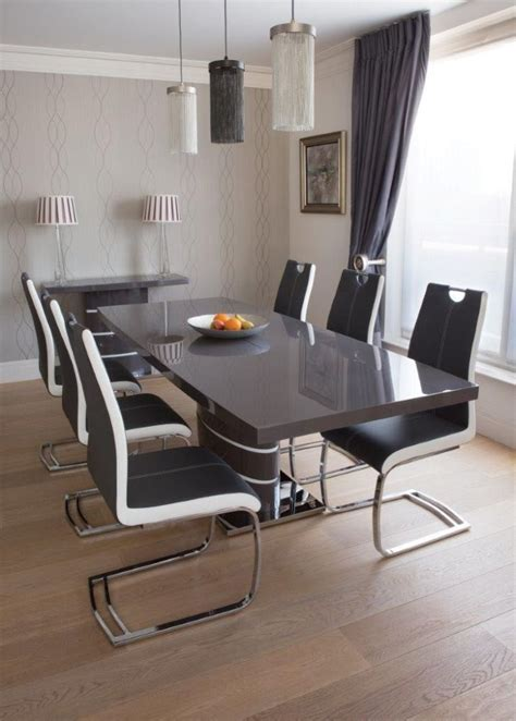 Glass Top Dining Table Seats 8 Buy Greenapple Rimini Grey Dining Set 6 8 Extending Glass Top Table With Chairs Cfs Uk