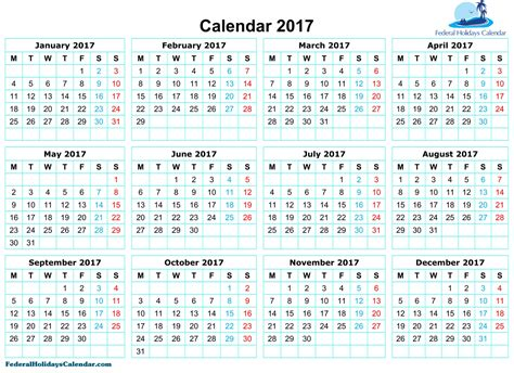 printable calendar 2017 with holidays free calendar 2017 printable template pdf holidays