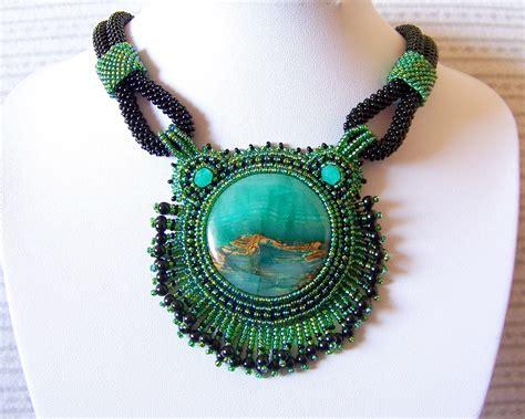 beadwork green statement necklace beadwork bead embroidery pendant