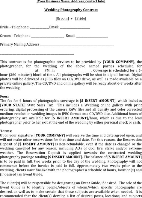 download wedding contract template for free tidyform