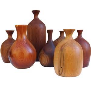 Wood Turned Vase Set Of Seven 1970s Studio Made Turned Wood Vases At 1stdibs
