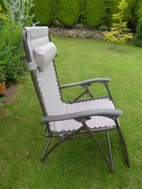 garden chair padded beige sun lounger recliner chairs