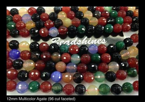 bead stores los angeles multicolor agate 12mm 96 cut faceted 183 beadshines