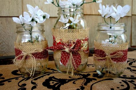 Decorating Jars With Fabric by Jars Wrapped In Burlap And Fabric Shabby Chic