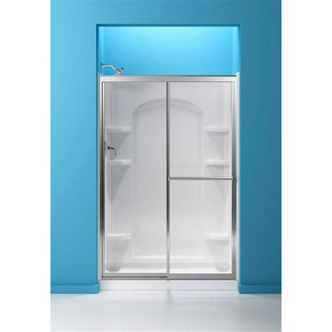 Sterling 48 7 8 In X 70 1 4 In Framed Sliding Shower Pebbled Glass Shower Door