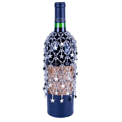 silver beaded wine bottle cover or skirt with silver stars